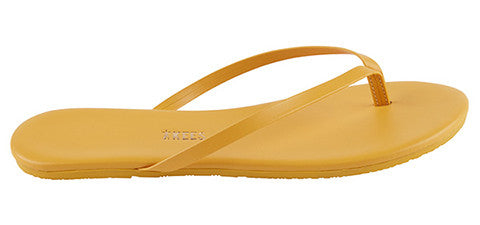 Deep Yellow Leather Flip Flops with Leather Upper, Leather Insole, Rubber Outsole