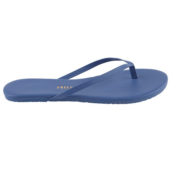 Blue Leather Flip Flops with Leather Upper, Leather Insole, Rubber Outsole