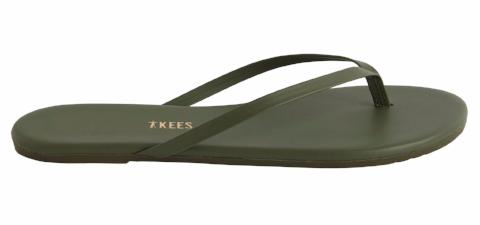 Dark Green Leather Flip Flops with Leather Upper, Leather Insole, Rubber Outsole