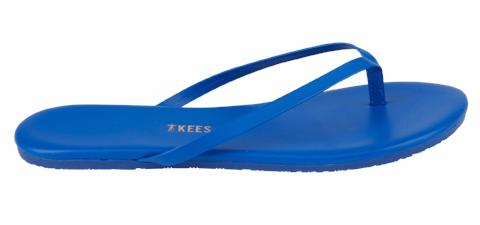 Deep Blue Leather Flip Flops with Leather Upper, Leather Insole, Rubber Outsole
