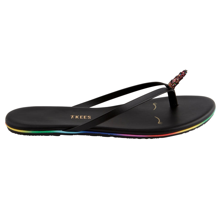 Black Unicorn Flip Flops with Rainbow Lining