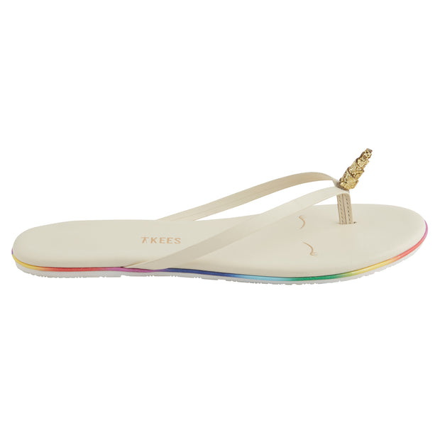 White Unicorn Flip Flops with Rainbow Lining