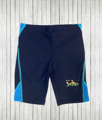 kids upf 50 rash guard shorts blue front - radicool sun protective clothing