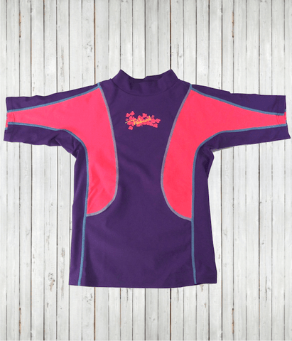 Kids Rash Guard T - purple coral front radicool sun protective clothing