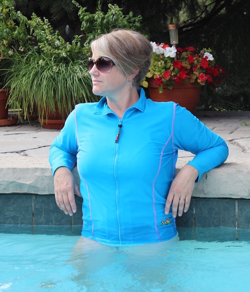 New - Women's Long Sleeve Zip Top Shirts - Radicool UV Beachwear
