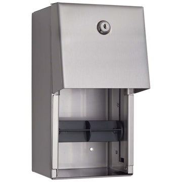 Image Of Toilet Paper Dispenser -  Double Roll - Satin Stainless Steel Finish - Harney Hardware