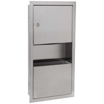 Image Of Paper Towel Dispenser And Waste Receptacle -  Recessed - Satin Stainless Steel Finish - Harney Hardware