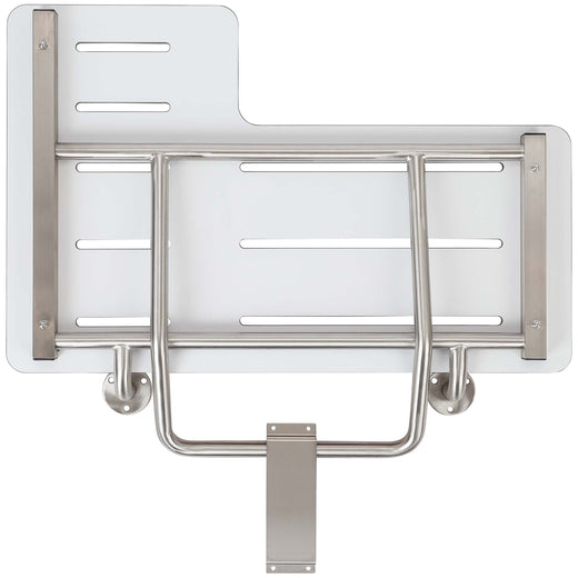 image of folding shower bench right handed phenolic seat ada compliant satin