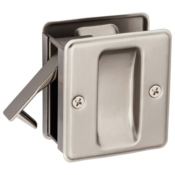Image Of Pocket Door Lock -  Passage -  2 1/2 In. X 2 3/4 In. - Satin Nickel Finish - Harney Hardware