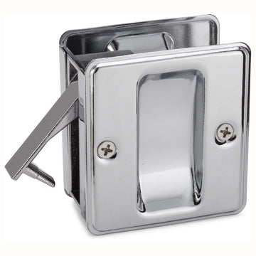 Image Of Pocket Door Lock -  Passage -  Solid Brass -  2 1/2 In. X 2 3/4 In. - Chrome Finish - Harney Hardware