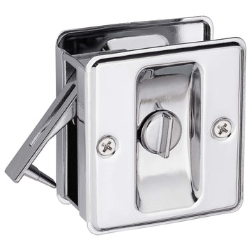 Image Of Pocket Door Lock -  Privacy -  Solid Brass -  2 1/2 In. X 2 3/4 In. - Chrome Finish - Harney Hardware