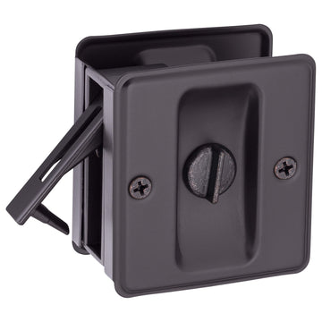 Image Of Pocket Door Lock -  Privacy -  Solid Brass -  2 1/2 In. X 2 3/4 In. - Oil Rubbed Bronze Finish - Harney Hardware