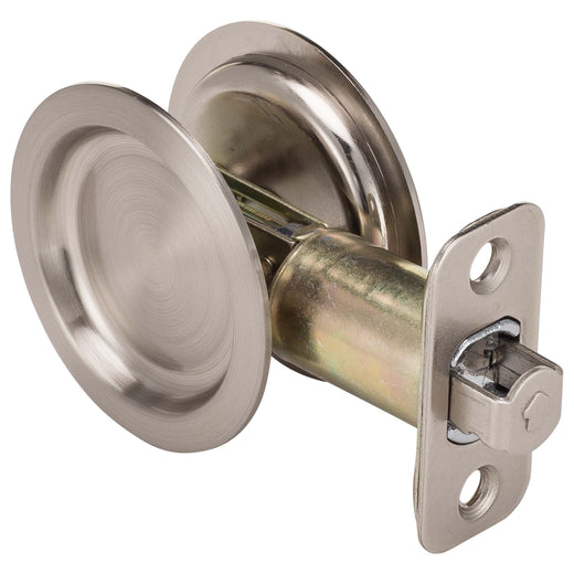Image Of Round Pocket Door Lock -  Passage -  2 1/8 In. Bore X 2 3/8 In. Backset - Satin Nickel Finish - Harney Hardware