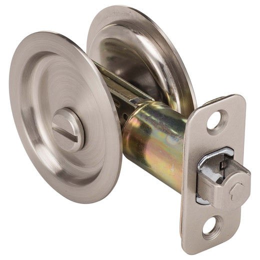 Image Of Round Pocket Door Lock -  Privacy -  2 1/8 In. Bore X 2 3/8 In. Backset - Satin Nickel Finish - Harney Hardware