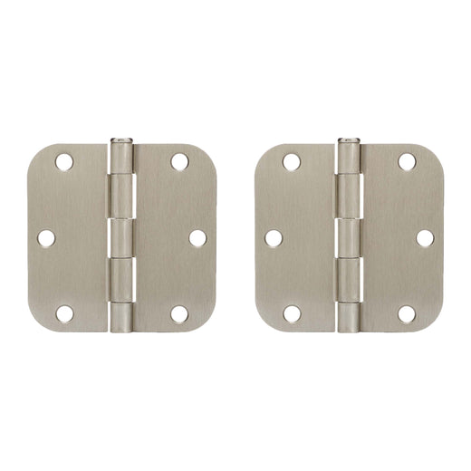 Image Of Door Hinges -  Plain Bearing -  3 1/2 In. X 3 1/2 In. X 5/8 In. Radius -  2 Pack - Satin Nickel Finish - Harney Hardware