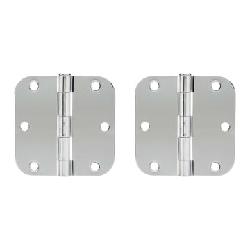 Image Of Door Hinges -  Plain Bearing -  3 1/2 In. X 3 1/2 In. X 5/8 In. Radius -  2 Pack - Chrome Finish - Harney Hardware