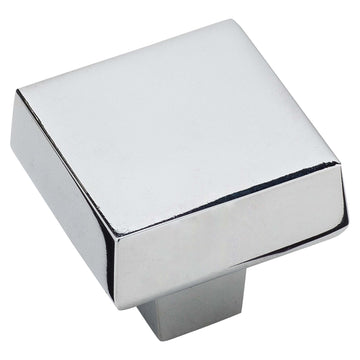 Image Of Cabinet Knob -  Contemporary Square -  1 5/16 In. Wide - Chrome Finish - Harney Hardware