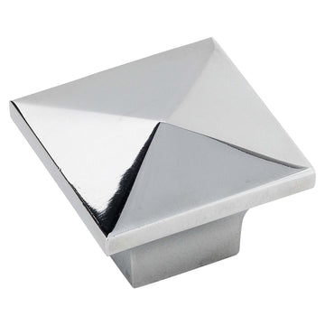 Image Of Cabinet Knob -  Pyramid Square -  1 1/4 In. Wide - Chrome Finish - Harney Hardware
