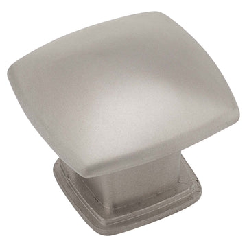 Image Of Cabinet Knob -  Pyramid Square -  1 3/16 In. Wide - Satin Nickel Finish - Harney Hardware