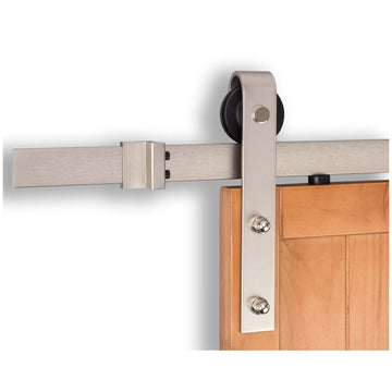 Image Of Barn Door Hardware -  Standard Kit - Satin Nickel Finish - Harney Hardware