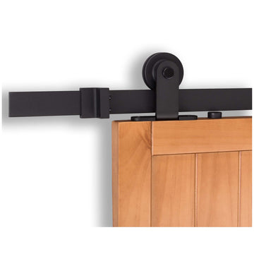 Image Of Barn Door Hardware -  Top Mount Kit - Matte Black Finish - Harney Hardware