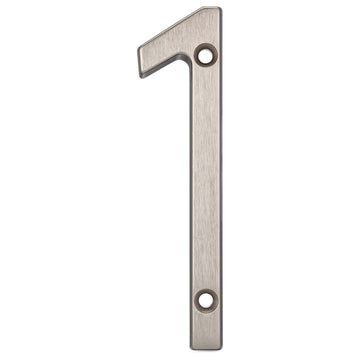 Image Of 4 In. Contemporary House Number 1 - Satin Nickel Finish - Harney Hardware