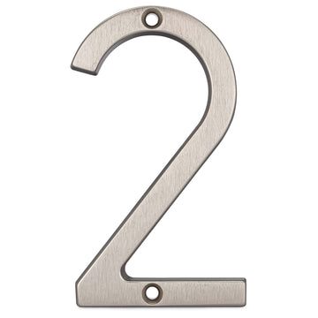 Image Of 4 In. Contemporary House Number 2 - Satin Nickel Finish - Harney Hardware