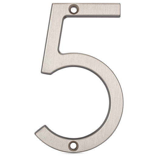 Image Of 4 In. Contemporary House Number 5 - Satin Nickel Finish - Harney Hardware