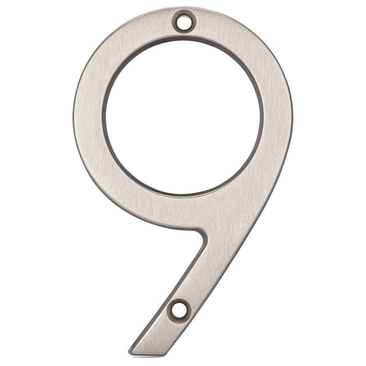 Image Of 4 In. Contemporary House Number 9 - Satin Nickel Finish - Harney Hardware