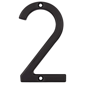 Image Of 4 In. Contemporary House Number 2 - Matte Black Finish - Harney Hardware