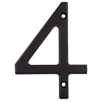 Image Of 4 In. Contemporary House Number 4 - Matte Black Finish - Harney Hardware