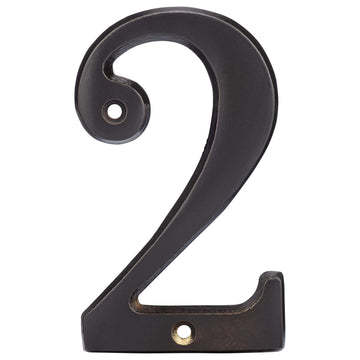 Image Of 4 In. House Number 2 -  Solid Brass - Oil Rubbed Bronze Finish - Harney Hardware