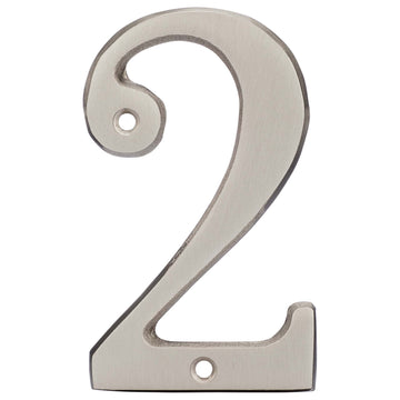 Image Of 4 In. House Number 2 -  Solid Brass - Satin Nickel Finish - Harney Hardware