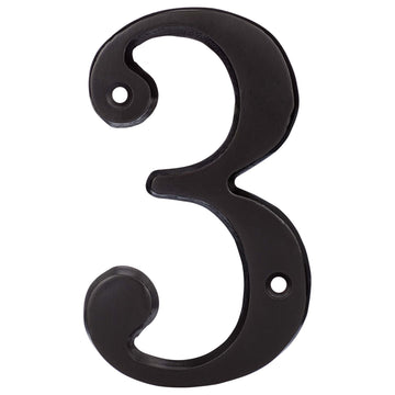 Image Of 4 In. House Number 3 -  Solid Brass - Oil Rubbed Bronze Finish - Harney Hardware