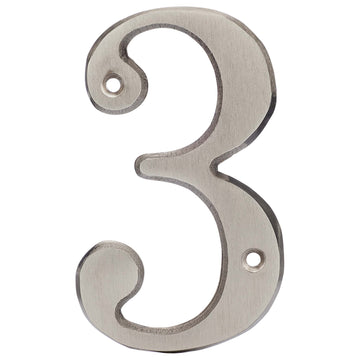 Image Of 4 In. House Number 3 -  Solid Brass - Satin Nickel Finish - Harney Hardware