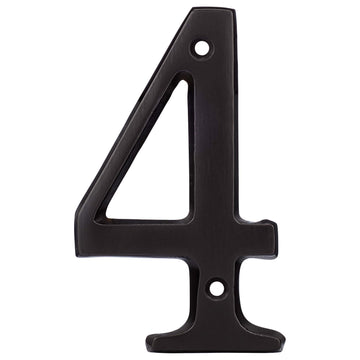 Image Of 4 In. House Number 4 -  Solid Brass - Oil Rubbed Bronze Finish - Harney Hardware