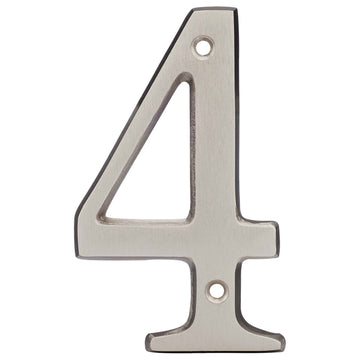 Image Of 4 In. House Number 4 -  Solid Brass - Satin Nickel Finish - Harney Hardware