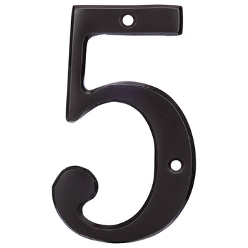 Image Of 4 In. House Number 5 -  Solid Brass - Oil Rubbed Bronze Finish - Harney Hardware
