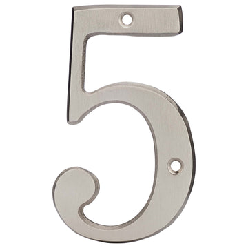Image Of 4 In. House Number 5 -  Solid Brass - Satin Nickel Finish - Harney Hardware