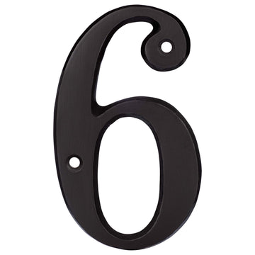 Image Of 4 In. House Number 6 -  Solid Brass - Oil Rubbed Bronze Finish - Harney Hardware