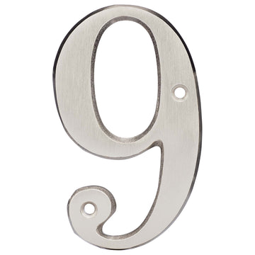 Image Of 4 In. House Number 9 -  Solid Brass - Satin Nickel Finish - Harney Hardware
