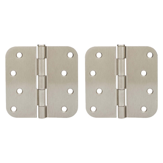 Image Of Door Hinges -  Plain Bearing -  4 In. X 4 In. X 5/8 In. Radius -  2 Pack - Satin Nickel Finish - Harney Hardware