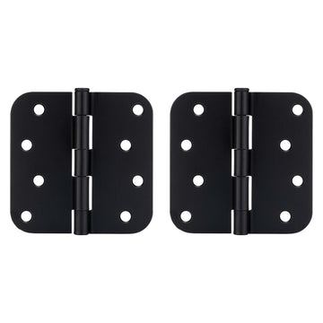 Image Of Door Hinges -  Plain Bearing -  4 In. X 4 In. X 5/8 In. Radius -  2 Pack - Matte Black Finish - Harney Hardware