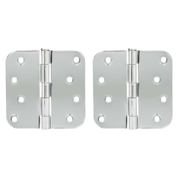 Image Of Door Hinges -  Plain Bearing -  4 In. X 4 In. X 5/8 In. Radius -  2 Pack - Chrome Finish - Harney Hardware