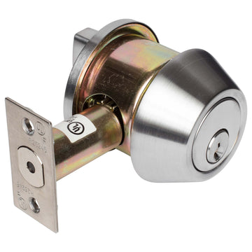 Image Of Vigilant Commercial Deadbolt -  Single Cylinder -  UL Fire Rated -  ANSI 2 - Satin Chrome Finish - Harney Hardware