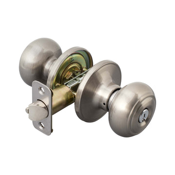 Image Of Callista Keyed / Entry Door Knob Set - Satin Nickel Finish - Harney Hardware