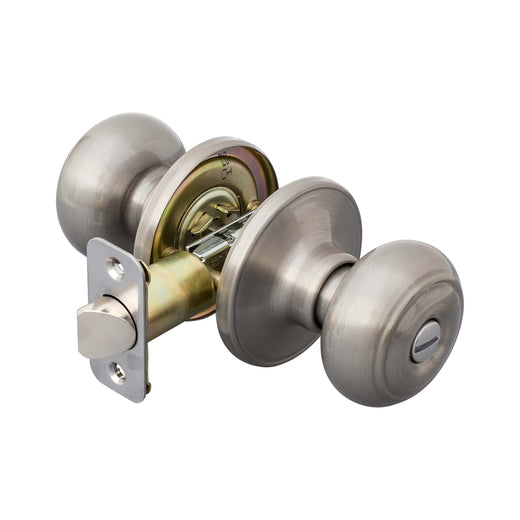 Image Of Callista Bed / Bath / Privacy Door Knob Set - Satin Nickel Finish - Harney Hardware