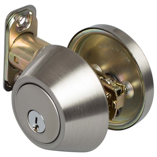 Image Of Keyed Single Cylinder Deadbolt - Satin Nickel Finish - Harney Hardware