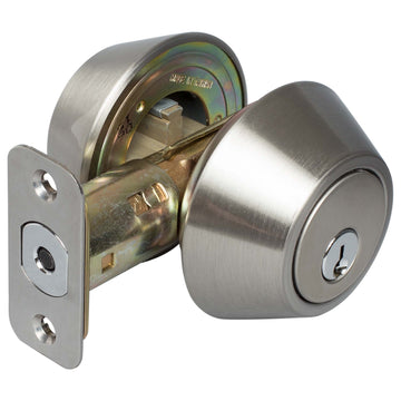 Image Of Keyed Double Cylinder Deadbolt - Satin Nickel Finish - Harney Hardware