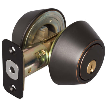 Image Of Keyed Double Cylinder Deadbolt - Venetian Bronze Finish - Harney Hardware